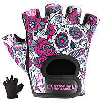 Женские перчатки для фитнеса Contraband Pink Label 5237 Sugar Skull Gloves