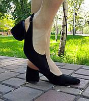 Чорні жіночі босоніжки з натурального замша