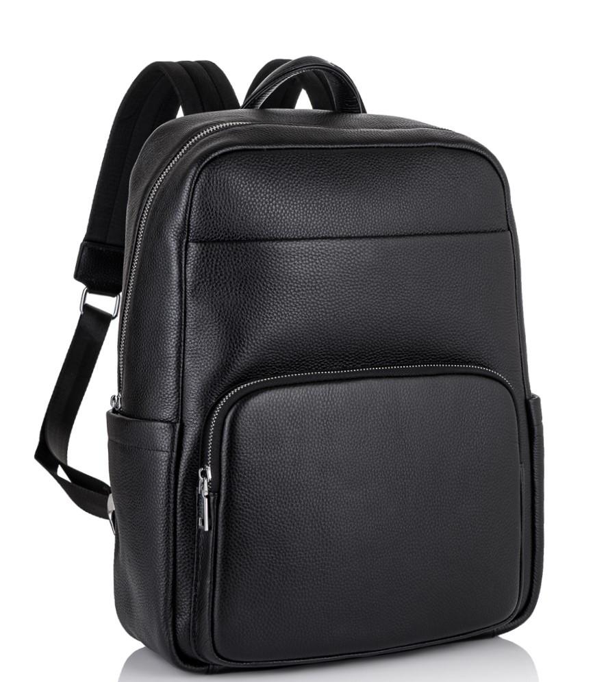 Чоловічий шкіряний рюкзак для ноутбука чорний Tiding Bag NM18-003A