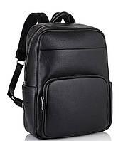 Чоловічий шкіряний рюкзак для ноутбука чорний Tiding Bag NM18-003A, фото 1