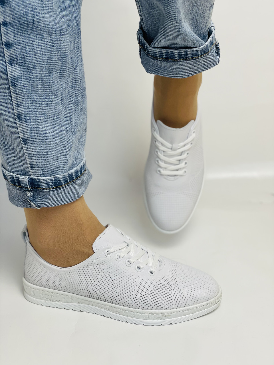 Trio Trend. Турецька взуття. Жіночі білі кеди-взуття з натуральної шкіри. Розмір 36 37 38 39 40