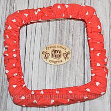 """Чохол для снапов (Q-snap) 20х20 см (8"""") Серця на червоному тлі"""