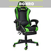 Кресло геймерское BONRO 2013-1 зелёное игровое компьютерное офисное раскладное для ПК дома работы с подставкой