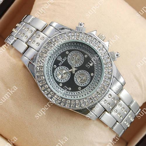 Модные наручные часы Rolex Brilliant Silver/Black 2080