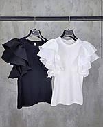 Блузка жіноча з воланами замість рукавів в кілька ярусів, фото 2