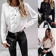 Женская блузка с длинным рукавом, с рюшем по всей длине изделия на груди, фото 2
