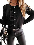 Женская блузка с длинным рукавом, с рюшем по всей длине изделия на груди, фото 3