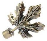 Карниз для штор металлический ЛИСТ КЛЕНА двойной 16+16 мм Крученая 3.0м Античное золото, фото 2