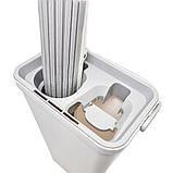 Швабра-губка с вертикальным отжимом самоочисткой и ведром Швабра лентяйка телескопическая для мытья пола белая, фото 10