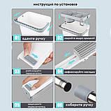 Швабра-губка с вертикальным отжимом самоочисткой и ведром Швабра лентяйка телескопическая для мытья пола белая, фото 6