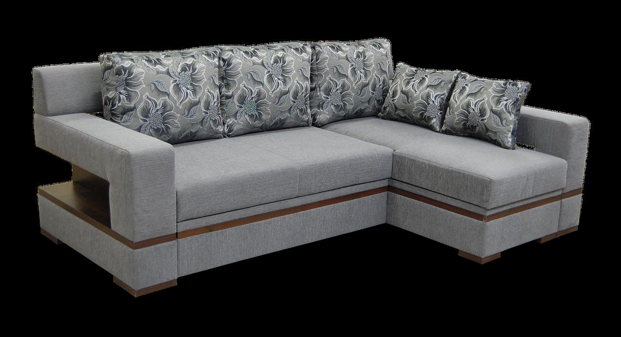 Угловой серый диван Цезарь с оттоманкой фабрики Бис-М