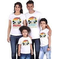 Комплект футболок з накаткою Тиранозавра для батьків і дітей (Роздріб).