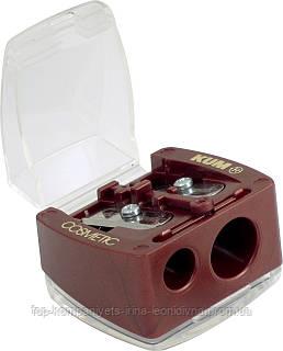 Точилка косметична з контейнером, подвійна KUM (12шт/уп)