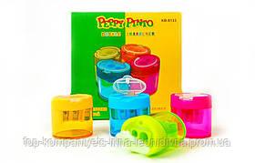 Чинка пластикова з контейнером, подвійна Peppy Pinto (12шт/уп)
