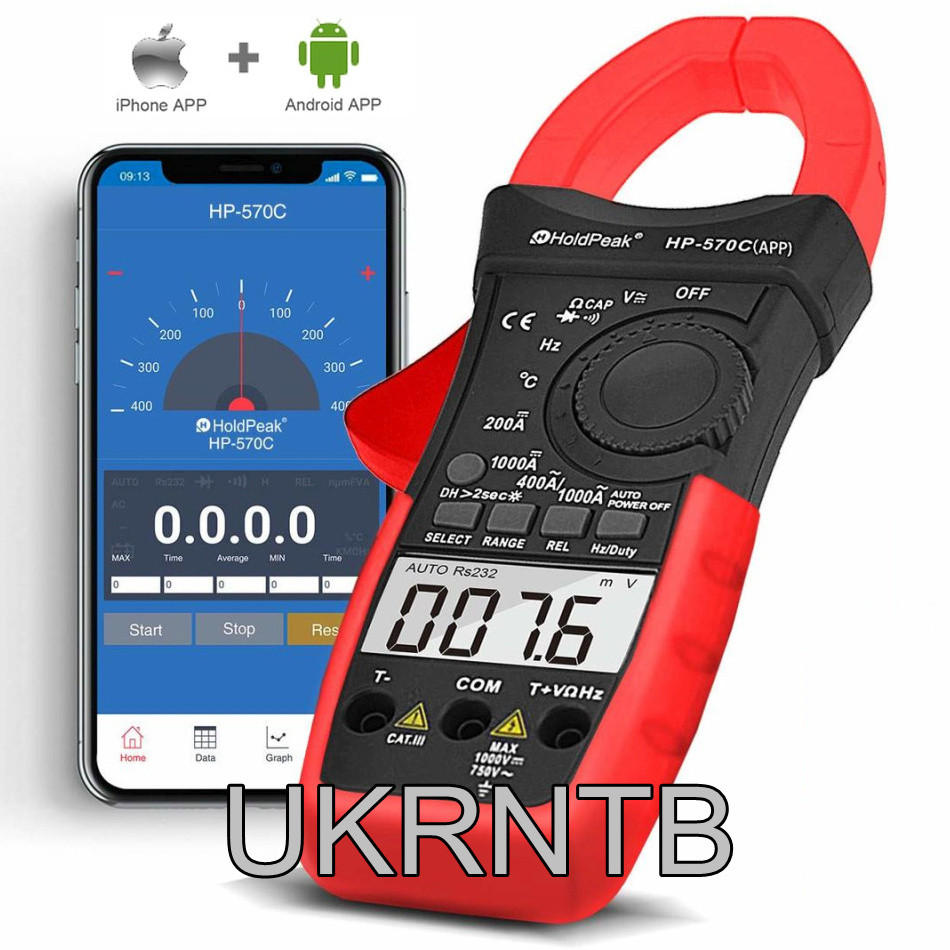 Токовые клещи с мониторингом через смартфон / 0,1-1000 А (AC/DC, Bluetooth) / Токоизмерительные клещи