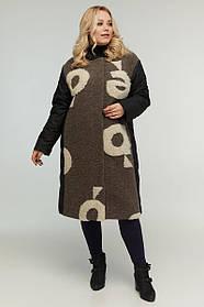 Стильне жіноче комбіновану пальто осінь/еврозима Великі Розміри 48-64