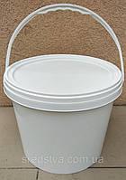 Відро поліпропіленове КиївПласт для харчових продуктів 10л біле, з кришкою, фото 1