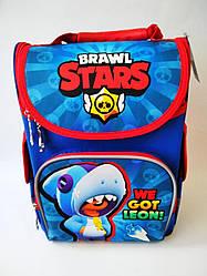 Школьный каркасный ортопедический рюкзак ранец портфель для мальчиков 1 2 3 4 5 класса Леон Stars Старс синий