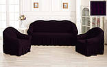 Комплект Чехлов Жатка универсальных натяжных с юбкой на 3х местный Диван + 2 кресла Тепло - Бордовый, фото 3