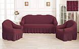 Комплект Чехлов Жатка универсальных натяжных с юбкой на 3х местный Диван + 2 кресла Тепло - Бордовый, фото 4