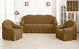 Комплект Чехлов Жатка универсальных натяжных с юбкой на 3х местный Диван + 2 кресла Тепло - Бордовый, фото 5