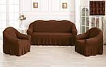 Комплект Чохлів Жатка універсальних натяжних зі спідницею на 3х місний Диван + 2 крісла Шоколад, фото 8