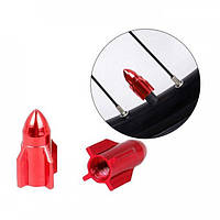 Колпачки на ниппель для велосипеда, скутера, мотоцикла Alitek Ракета Red, 2 шт