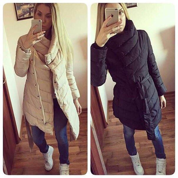 Женская удлинённая куртка на кнопках и змейке