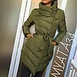 Женская удлинённая куртка на кнопках и змейке, фото 4
