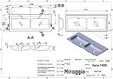 Умывальник MIRAGGIO DELLA 1100-2 матовый с литого мрамора, фото 4