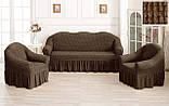 Комплект Чехлов Жатка универсальных натяжных с юбкой на 3х местный Диван + 2 кресла Кремовый, фото 6