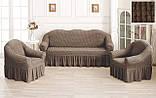 Комплект Чехлов Жатка универсальных натяжных с юбкой на 3х местный Диван + 2 кресла Кремовый, фото 7