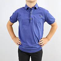 Школьная синяя футболка поло для мальчика тм Blueland размер 116,122,128,134 см