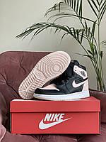 Кроссовки женские Nike Air Jordan розовые, Найк Джордан, натуральная кожа, прошиты. Код SD-10274