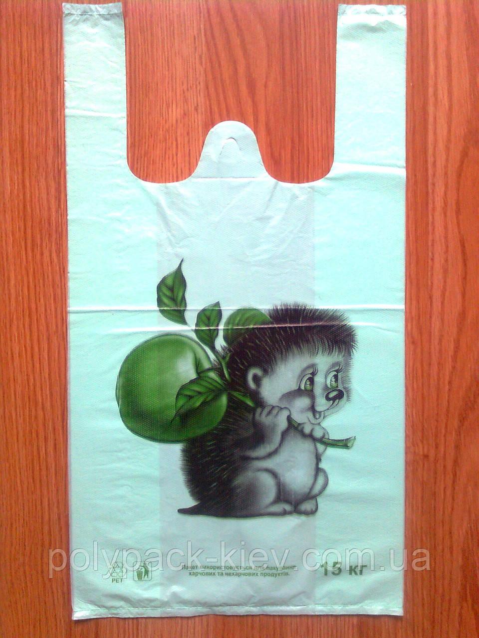 Пакеты-майка Ежик 30х53 см, прочный полиэтиленовый пакет, упаковочные плотные с печатью купить Киев
