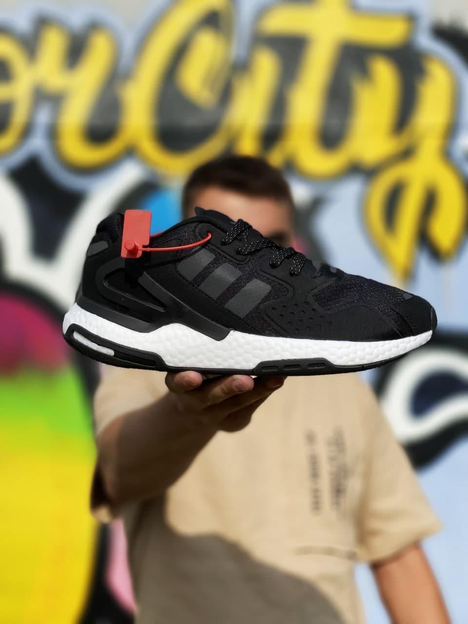 Мужские кроссовки Adidas Day Jogger Reflective (черно-белые) J3331 молодежные рефлективные кроссы