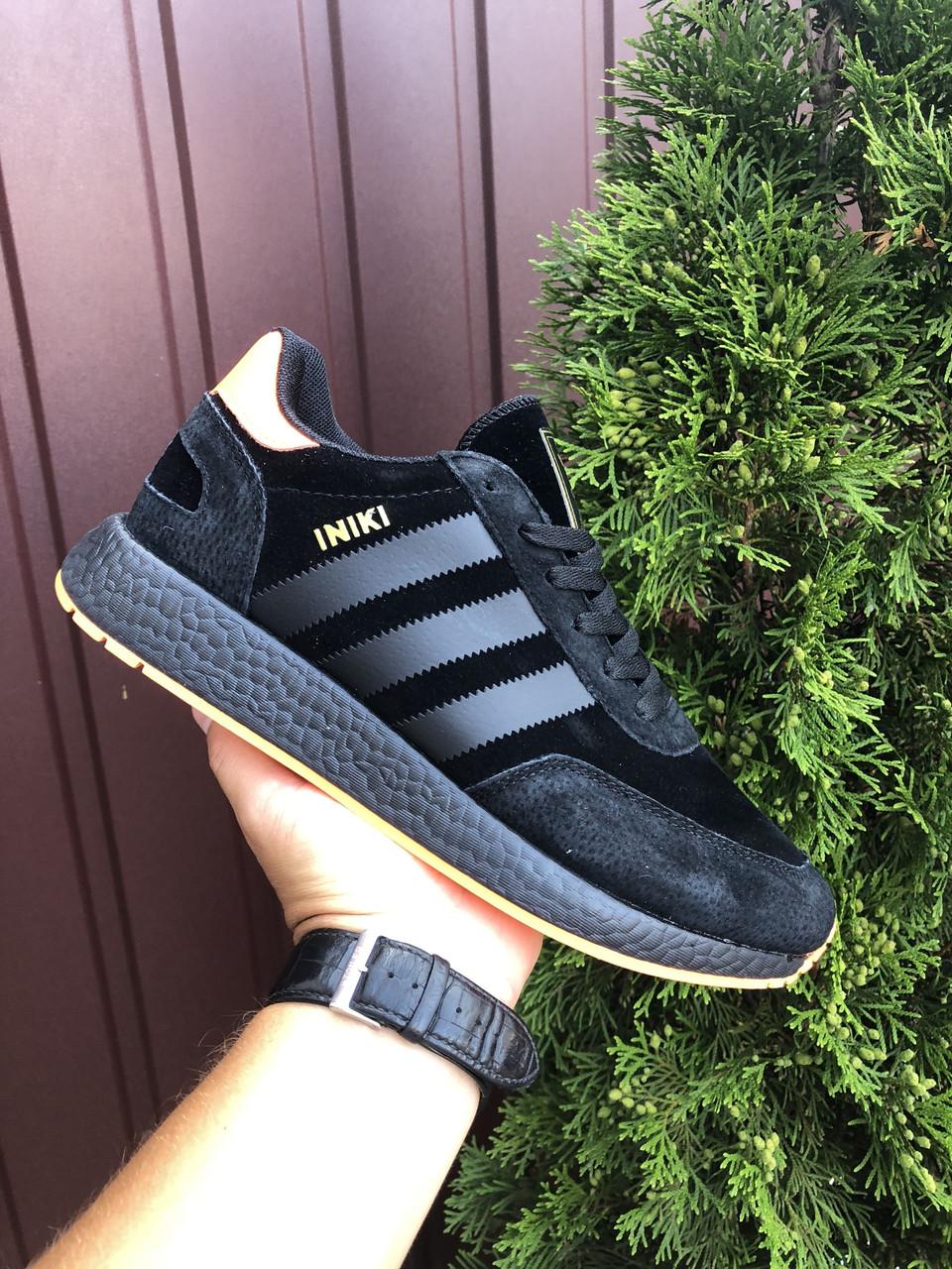 Чоловічі кросівки Adidas Iniki (чорно-помаранчеві) В10589 якісна взуття