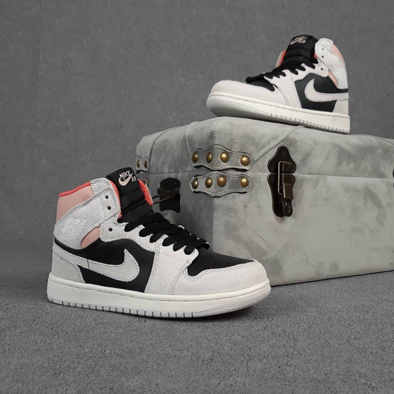 Женские кроссовки Nike Air Jordan (серые с черным и пудрой) О20399 стильные весенние кроссы
