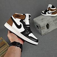 Женские кроссовки Nike Air Jordan (белые с чёрным с коричневым) О20400 модные демисезонные кроссы