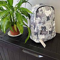 Школьный рюкзак портфель для подростков CaogenYizu (с котами,серый)