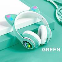Беспроводные детские блютуз LED наушники Cat Ear VZV-23M Bluetooth со светящимися кошачьими ушками зеленые, фото 2