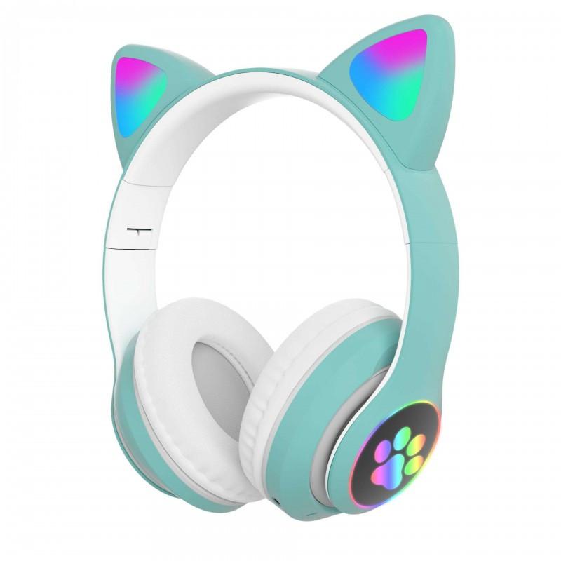 Беспроводные детские блютуз LED наушники Cat Ear VZV-23M Bluetooth со светящимися кошачьими ушками зеленые