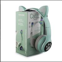 Беспроводные детские блютуз LED наушники Cat Ear VZV-23M Bluetooth со светящимися кошачьими ушками зеленые, фото 3