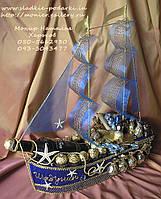 """Корабль из конфет """"Синее море"""" со спиртным, фото 1"""