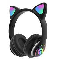 Беспроводные детские блютуз LED наушники Cat Ear VZV-23M Bluetooth со светящимися кошачьими ушками зеленые, фото 5