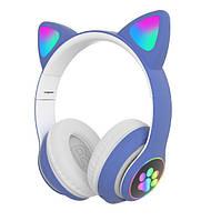 Беспроводные детские блютуз LED наушники Cat Ear VZV-23M Bluetooth со светящимися кошачьими ушками зеленые, фото 6