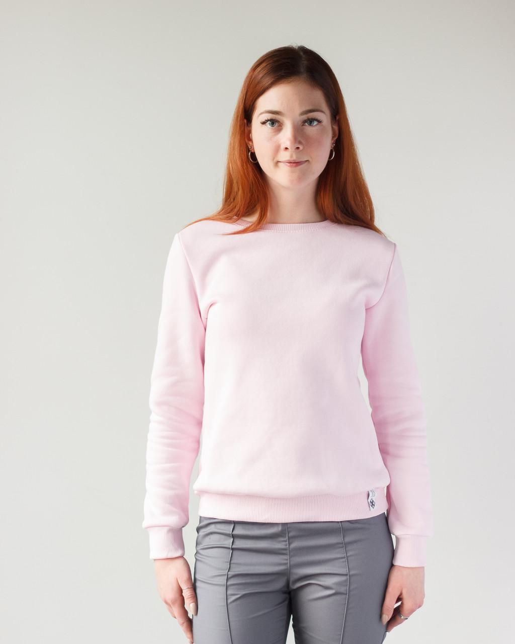 Теплий жіночий світшот з начосом ніжно-рожевий