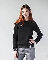Теплий жіночий світшот з начосом чорний, фото 1