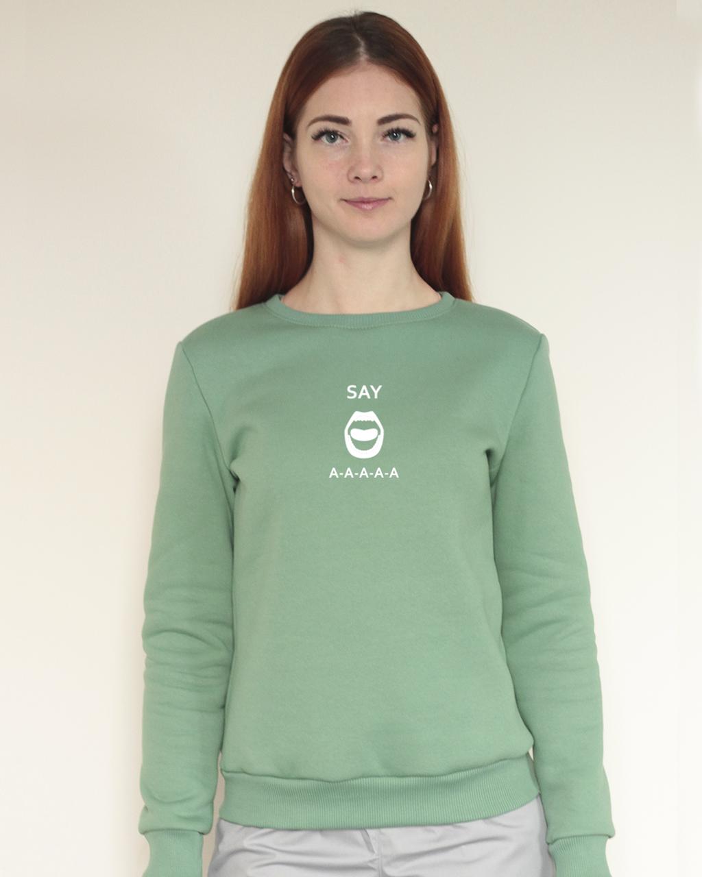 Теплий жіночий світшот з начосом оливковий