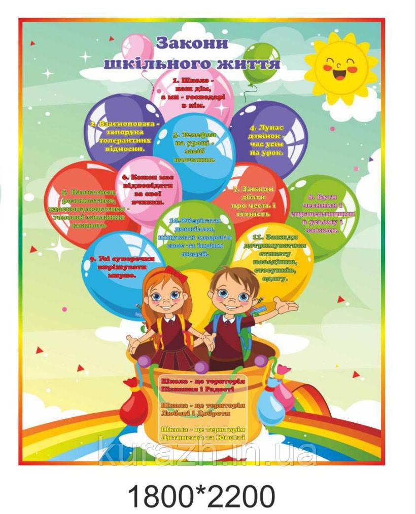 Банер для школи «Закони шкільного життя»